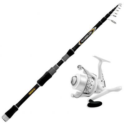 Seika Kit da Pesca a Spinning Canna Seika Tele Gambler 2.70 m – 10 – 30 g + Mulinello SK7 Misura 4000 Imbobinato con Filo 0.25 mm
