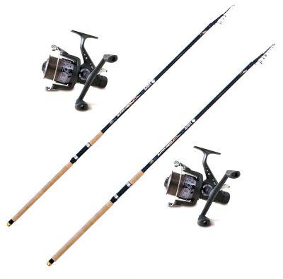 Lineaeffe Kit da Pesca a Fondo e Lancio 2 Canne Super Hero 4.20 m – 20-80 g + 2 Mulinelli Imbobinati Doppia Manovella e Baitrunner