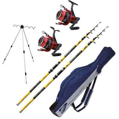 Lineaeffe Kit Pesca da Surfcasting 2 Canne Tele Outcast Glow 4.20 m 200 g + 2 Mulinelli SK5 FD 7000 Imbobinato + Tripod da Spiaggia + Fodero in Cordatura