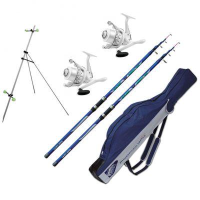 Lineaeffe Kit Pesca da Surfcasting Tele 2 Canne Blue Wave WWG 3.90 m 220 g + 2 Mulinelli Sk6 6000 Imbobinato + Tripod Alluminio 3 Sezioni 120 cm + Fodero in Cordatura