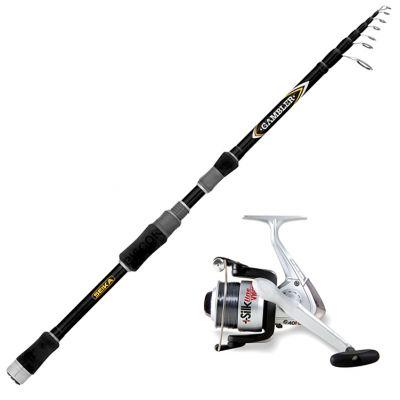 Seika Kit da Pesca a Spinning Canna Seika Tele Gambler 2.40 m – 5 – 25 g + Mulinello vigor 4000 Imbobinato con Filo