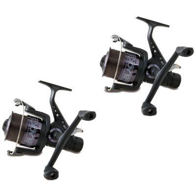 Lineaeffe Super Offerta Kit 2 Mulinelli All Black 6000 per Carp Fishing feeder Imbobinati con filo – Doppia Manovella e Baitrunner 3 Cuscinetti