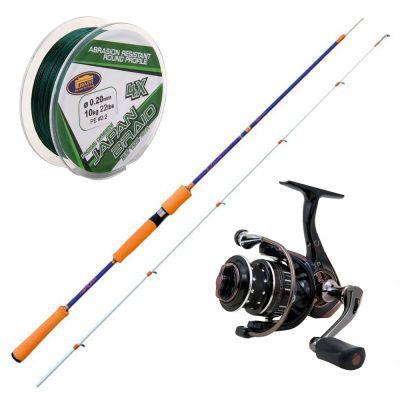 Nomura Kit da Pesca Eging Canna Izu Sw Egi Spec 8-15 gr 2,40 m + Mulinello Haru Ta Trout Area 2000 + Filo Trecciato 150 m