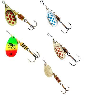Mepps Set n 4 di 5 Cucchiaini Rotanti da Pesca a Spinning per Predatori Acque Interne