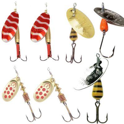 Contumax Set n 2 di 7 Cucchiaini Rotanti per la Pesca di Predatori in Acque Interne di Diversa Misure e Marchi