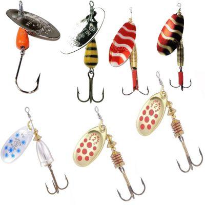 Contumax Set n 5 di 7 Cucchiaini Rotanti per la Pesca di Predatori in Acque Interne di Diversa Misure e Marchi