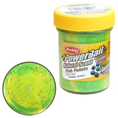Berkley Pasta Trota PowerBait Natural Scent Fish Pellet Fluo Green Yellow