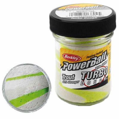 Berkley Pasta Trota Brillantinata PowerBait Turbo Dough White-Chartreuse